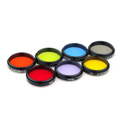 "Hot 1.25"" Stanard Eyepiece Kit Colored Filters+Moon&Skyglow Filter for Telescope"