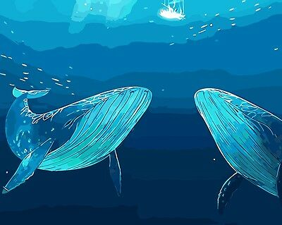 Framed Painting by Number kit Humpback Whale Sea Floor World Halobios DIY BB7627