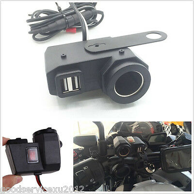 Waterproof 12V Motorcycles Cigarette Lighter Dual USB Phone GPS Charger & Switch