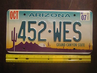License Plate, Arizona, Sunset, Grand Canyon State, 452 WES, ( Wesley )