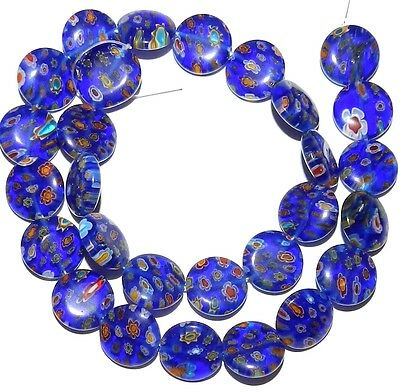 """G2989 Blue w Multi-Color Flowers 14mm Puff Round Coin Millefiori Glass Beads 14"""""""