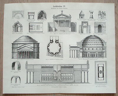 Ancient Etruscan&roman Architecture Temple Pantheon Rome 1890 German Print Plate