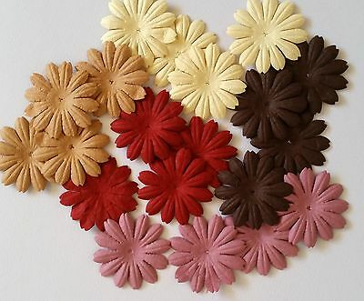20 x 4cm Mulberry Paper Flowers *Autumn Daisies* Scrapbooking, Cardmaking, etc