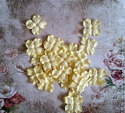 12 x 4.5cm Mulberry Paper Flowers *Pale Lemon* Scrapbooking, Cardmaking, etc