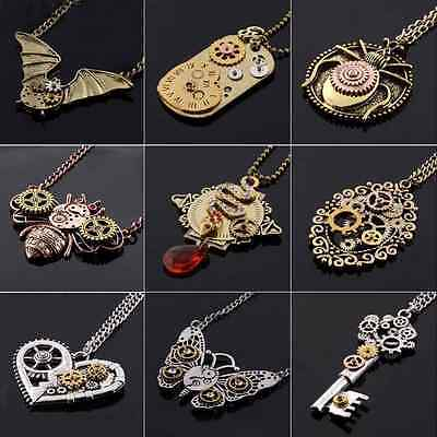 Retro Vintage Bronze Steampunk Machinery Gear Necklace Pendant Chain Necklaces