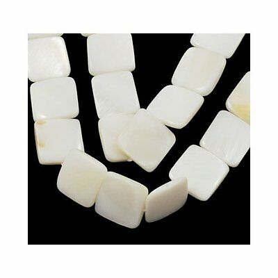 Strand of 30+ White Dyed Shell 12mm Flat Square Beads Y07330