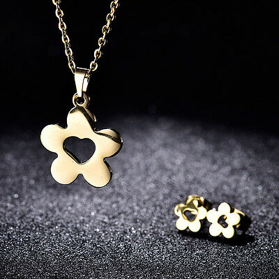 MODOU Gold Stainless Steel Flower Earrings & Pendant Necklace Sets Jewelry Gift