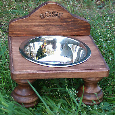 PERSONALISED WOODEN CAT/DOG STAND WITH ONE STAINLESS STEEL BOWL 16cm