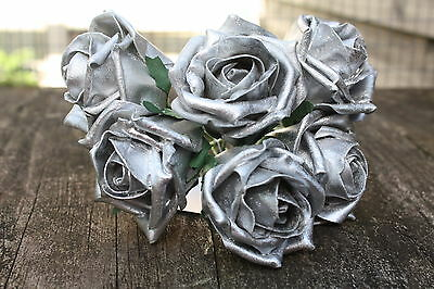 6 x PEARLISED SILVER SHIMMER GREY COLOURFAST FOAM OPEN COTTAGE  ROSES 6cm