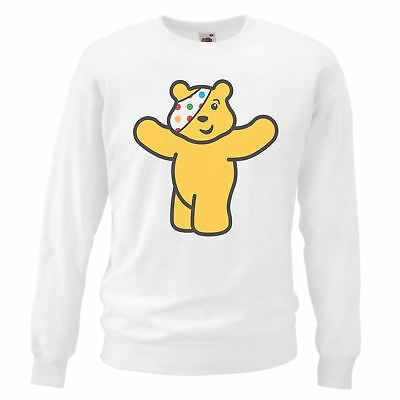 Adults White Pudsey Bear Children In Need Sweatshirt CIN Charity Clothing