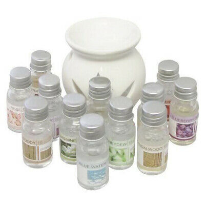 Ceramic Scented Oil Wax Burner Diffuser Essential Aromatherapy Gift Set +12 Oils