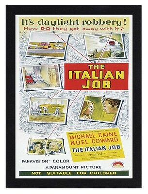 Framed The Italian Job Movie Poster A4 Size Mounted In Black Or White Frame