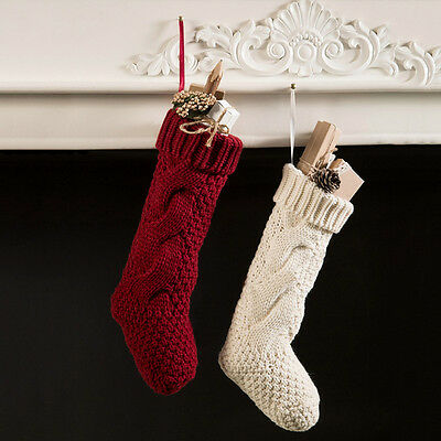 2016 Newest Christmas Hanging Stocking Gifts Bags Knit Xmas Decorative Socks