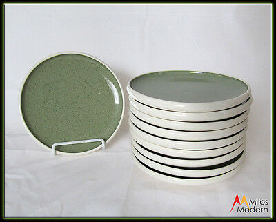 60s Mid Century Russell Wright Harkerware White Clover Green 10 Bread Plates