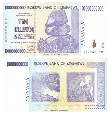 Zimbabwe 10 Billion Dollars 2008 P-85 AA Prefix aUNC About Uncirculated