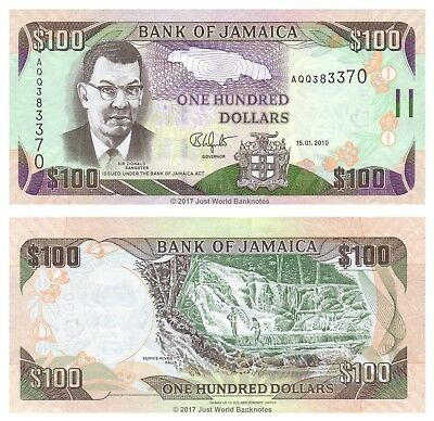 Jamaica 100 Dollars 2010  P-84e  aUNC About Uncirculated