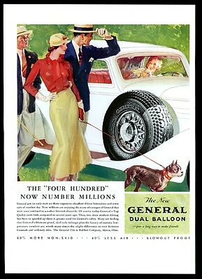 1933 Boston Terrier and woman art General tire BIG vintage print ad