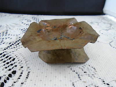 Copper Trench Art Pedestal Ashtray Signed DR Hand Hammered WWII Unique