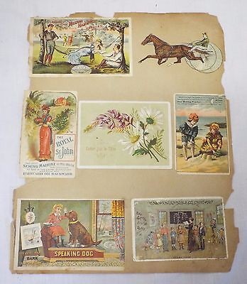 Old VICTORIAN Trade Card Page w/ SPEAKING DOG MECHANICAL BANK Trade Card 8 Cards