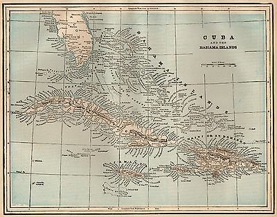 1893 Antique Map of CUBA Bahamas Map Gift for Map Collector Birthday 3193