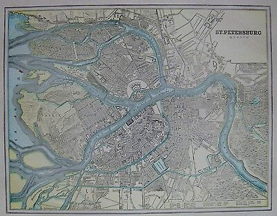 1920 Antique ST PETERSBURG Russia Map of Russia Gallery Wall Art 3200