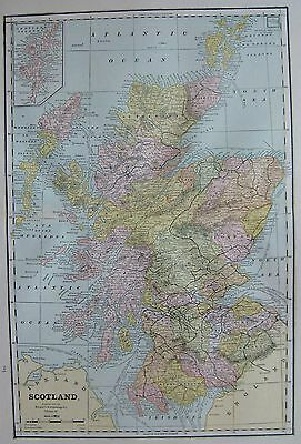 1886 Antique SCOTLAND Map Beautiful Vintage Map of Scotland  #3211