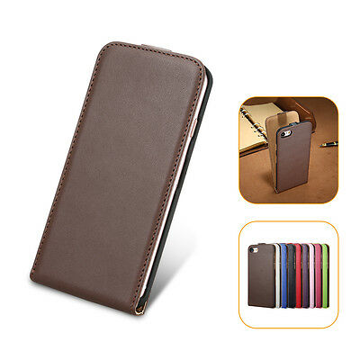 Business Genuine Leather Case Vertical Flip Cover For iPhone 7 7 Plus 5s Samsung