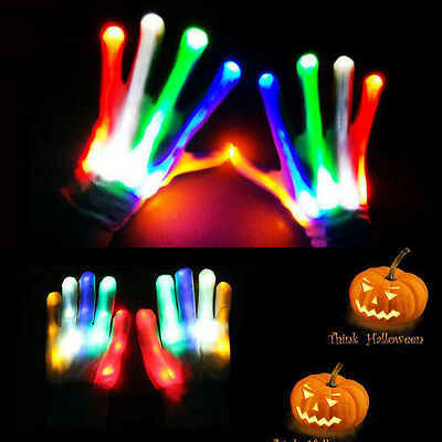 LED Flashing Gloves Multi Color Electro Light Up Christmas Dance Rave Party Fun