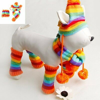 Winter Warm 3 Times Stripe Knitted Pet Dog Hat+Scarf+Socks Puppy Costume Clothes