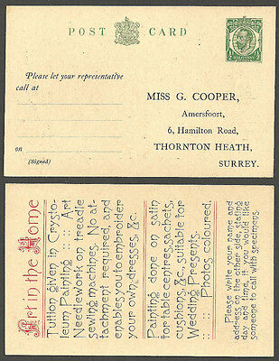 George V 1/2D Advertising Postcard Printed Address Miss Cooper Art In The Home