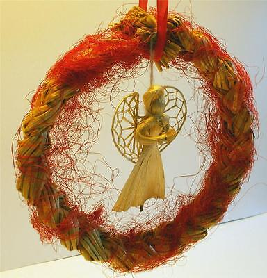 Swedish Xmas: Handmade plaited straw wreath with hanging cute angel, red ribbon