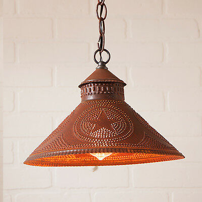 Stockbridge Shade Light Pendant with Star in Brownic Punched Tin