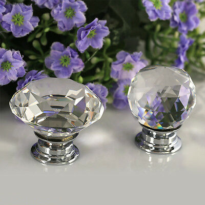 8pcs 40MM Clear Crystal Glass Door Knob Drawer Cabinet Furniture Kitchen Handles