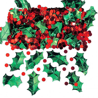 Holly Leaf + Berries Red Green Christmas Table Confetti Party Decorations Craft