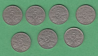 Nickels of the Great Depression - Lot of 7, 5 Cent Coins 1930-1936 - King George