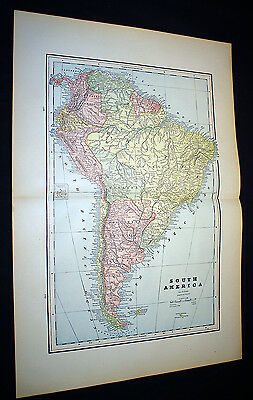 Antique Maps South America OR Central America Cram's Atlas 1892