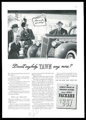 1940 Packard car illustrated New Yorker vintage print ad