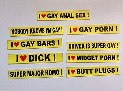 "9 Piece SAMPLER GAY PRANK  3/4""x4 1/2 Inches  BUMPER STICKERS"