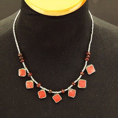 Red CORAL Genuine Stone Belly Dance Tribal NECKLACE Kuchi Afghani 800g3