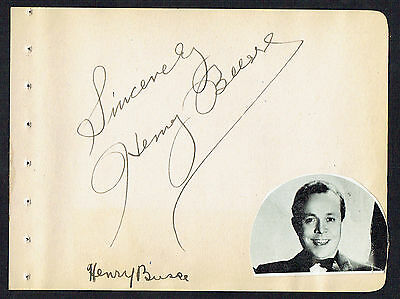 "Henry Busse (d.1955) signed autograph 4x6 Album Page Composer: ""Wang Wang Blues"""