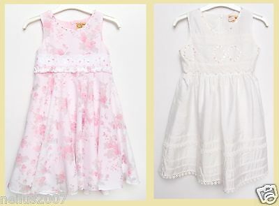 New Girls Summer Party White Pink Flower Lined Sequenced Sleeveless Dress Age 5