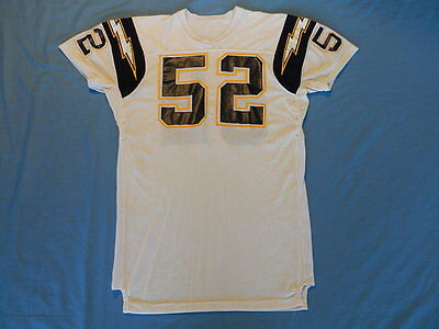 Jeff Mills 1990 San Diego Chargers game used jersey Sand-Knit size 50