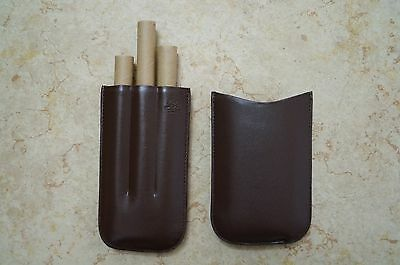 Crown Custom Leather Cigar Case Brown w/3 cigar fingers