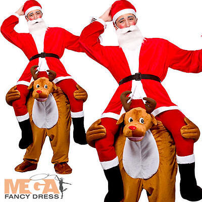 Carry Me Reindeer Adult Fancy Dress Christmas Festive Mens Ladies Costume Outfit