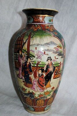 Beautiful hand-painted/moriaged Royal Satsuma nippon vintage/antique 14-inch
