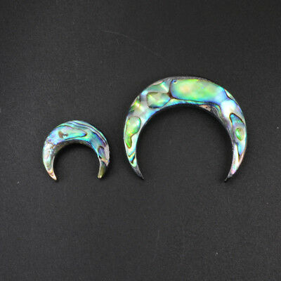 5Pcs Tribal Horn Crescent Moon Abalone Shell Beads Cabochon No Hole DIY BWX075