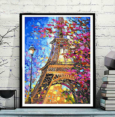 Framed Painting by Number kit Eiffel Tower Paris City France Night DIY JC7475