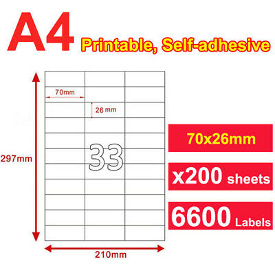 200 x A4 Sticker Paper Mailing Address Laser Inkjet 70x25.4mm 33 Labels per page
