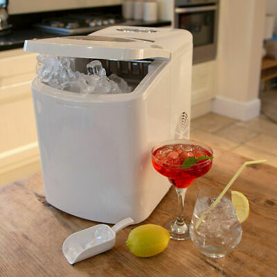 White Large Counter Table Top Ice Cube Machine Maker Bar Drinks Cocktails Party
