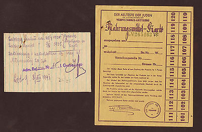 JUDAICA Getto Litzmannstadt 1941 Ration Card for Food with additional Document